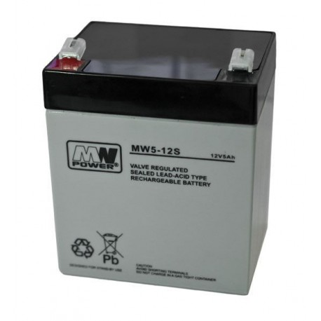 Pb 12V 5Ah bezobsługowy (waga 1.9kg, max. prąd ład. 1.5A, max. prąd rozład. 80A)