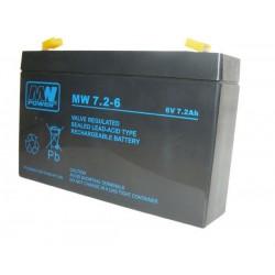 Pb 6V 7.2Ah bezobsługowy (waga 1.3kg, max. prąd ład. 2.1A, max. prąd rozład. 80A)
