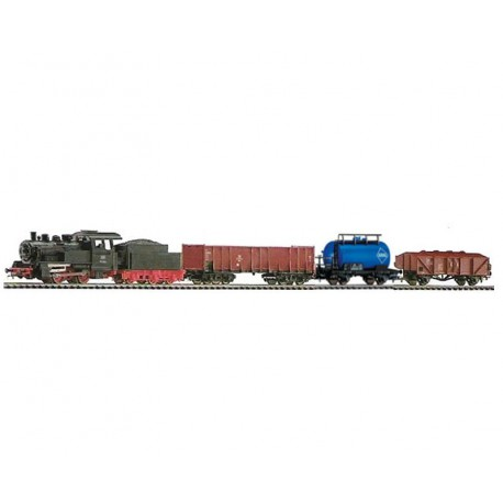 Piko 57160 zestaw startowy towarowy parowóz z tendrem plus trzy wagony towarowe DB
