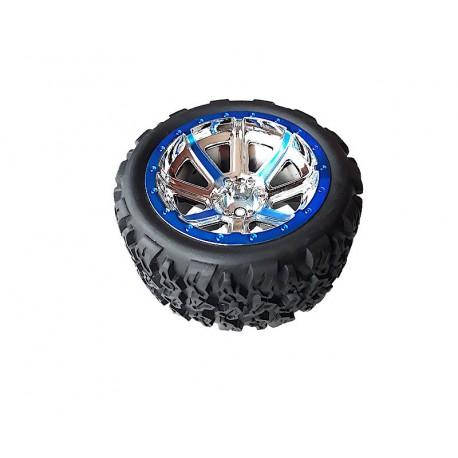 NQD kompletne koło Land Buster 4wd12-26_27 Felga + Opona 1szt niebieskie modelarstwo rc