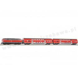 Piko 57150 zestaw startowy spalinowóz BR 218 DB Regio dwa wagony osobowe piętrowe