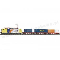 Piko 57182 zestaw startowy towarowy elektrowóz BR 189 European Bulls trzy platformy z kontenerami