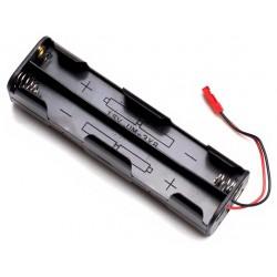 Koszyczek długi na 4 akumulatory R6/AA z wtykiem JST