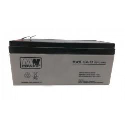Pb 12V 3.4Ah bezobsługowy (waga 1.3kg, max. prąd ład. 0.95A, max. prąd rozład. 35A)