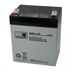 Pb 12V 5Ah bezobsługowy (waga 1.4kg, max. prąd ład. 1.5A, max. prąd rozład. 50A)