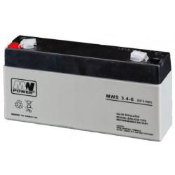Pb 6V 3.4Ah bezobsługowy (waga 0.65kg, max. prąd ład. 1A, max. prąd rozład. 33A)