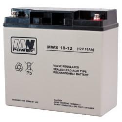 Pb 12V 18Ah bezobsługowy (waga 4.7kg, max. prąd ład. 5A, max. prąd rozład. 160A)