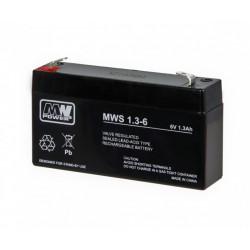 Pb 6V 1.3Ah bezobsługowy (waga 0.31kg, max. prąd ład. 0.3A, max. prąd rozł. 15A)