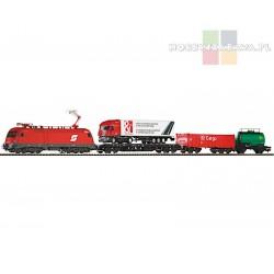 Piko 57177 zestaw startowy towarowy TAURUS plus trzy wagony towarowe i ciężarówka ÖBB