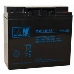 Pb 12V 18Ah bezobsługowy (waga 5.7kg, max. prąd ład. 5.5A, max. prąd rozład. 195A)