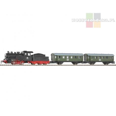 Piko 57112 zestaw startowy BR 98 DB parowóz z tendrem, dwa wagony osobowe lll eopka, skala HO, start-set.