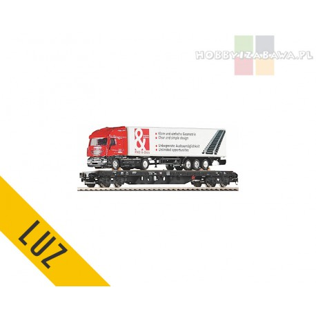 """Piko czteroosiowa platforma oraz ciągnik siodłowy z naczepą, tzw TIR, """"Piko A-Gleis"""" RIV DB Rs 31 80 391 3558-3, skala H0 - luz"""