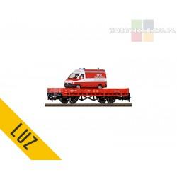 Piko platforma dwuosiowa Straż Pożarna typ Kmnm z pojazdem - luz